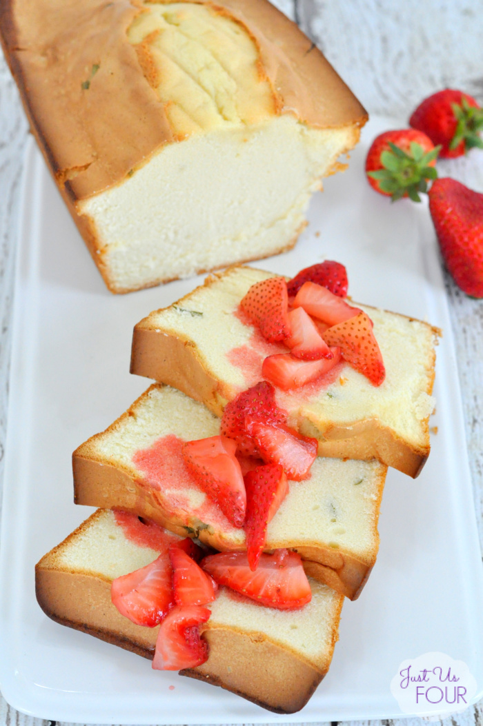 Grilled Strawberry Basil Pound Cake