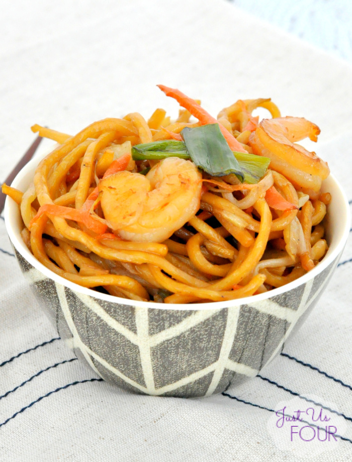 Spicy Pan Fried Noodles with Shrimp