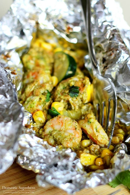 Grilled Lime Coconut Shrimp Foil Packs - Just Us Four
