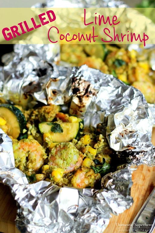 These Grilled Lime Coconut Shrimp Foil Packs are easy, healthy, and ...