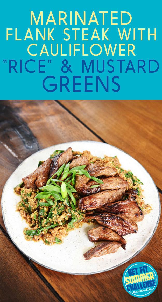 12 - Buzzfeed - Flank Steak with Cauliflower Rice