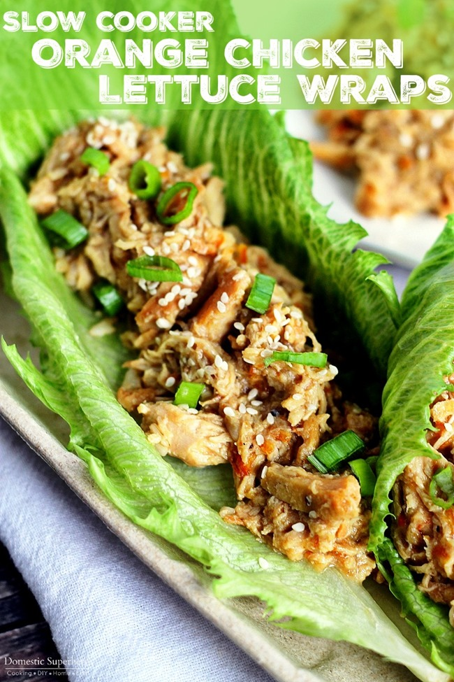 Slow Cooker Orange Chicken Lettuce Wraps are an easy and delicious dinner! These healthy ingredients make a mouth watering meal!