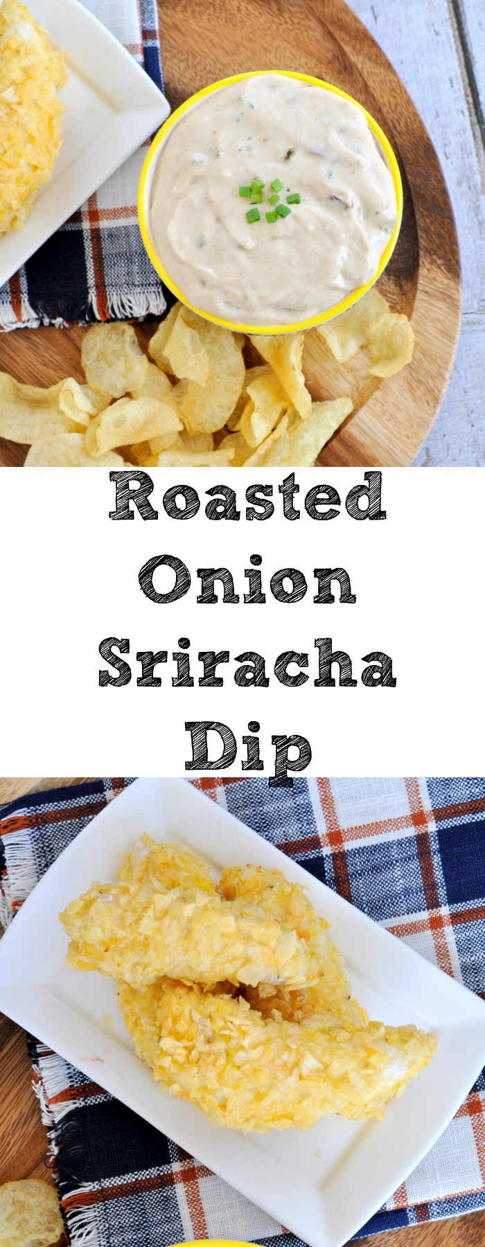 Roasted Onion Sriracha dip is the ultimate tailgating addition.