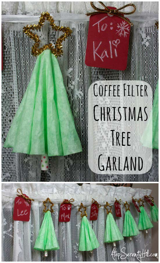 Coffee filter Christmas tree garland • AtopSerenityHill.com #Christmascrafts #easycrafts #Christmas