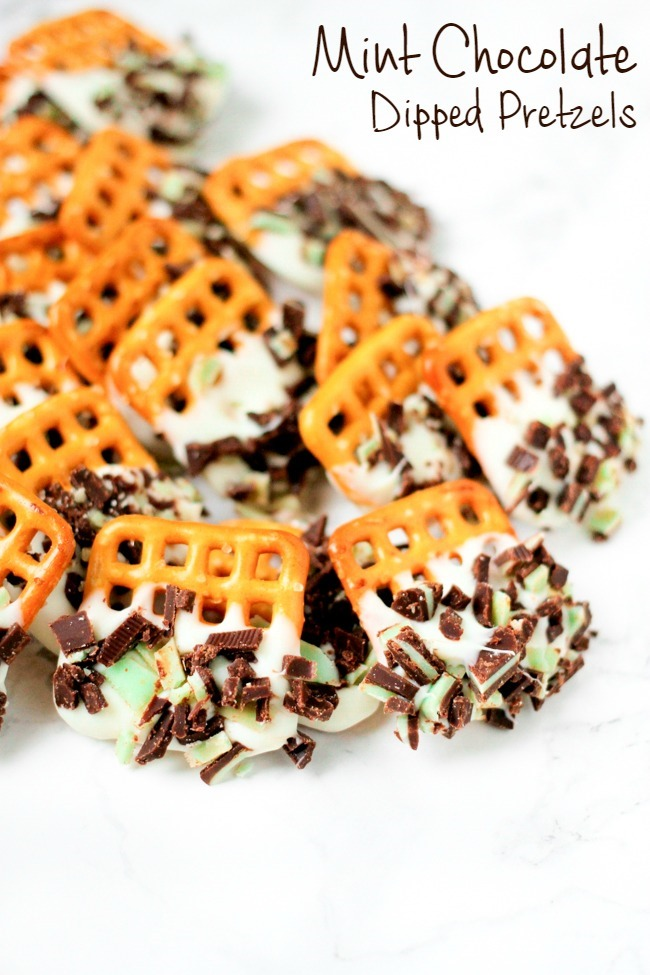 Mint Chocolate Dipped Pretzels are the perfect party treat! Only 3 ingredients and 10 minutes to make!