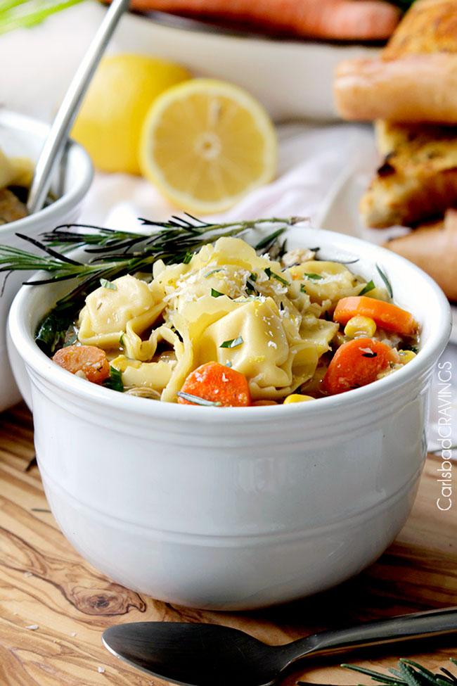 16 - Carlsbad Cravings - One Pot Lemon Chicken Tortellini Soup