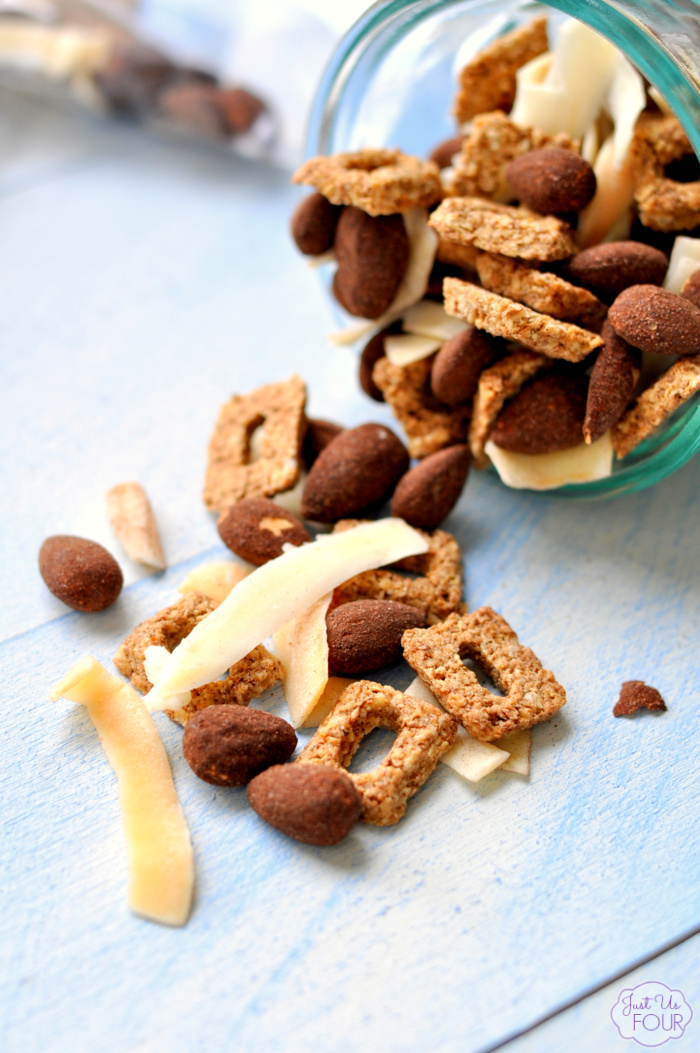 Chocolate Coconut Snack Mix is the perfect on the go snack and is packed with protein to keep you fuller longer.
