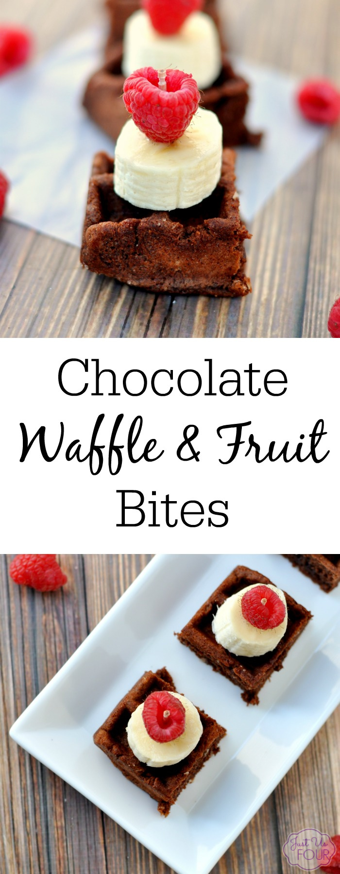 Mini Chocolate Waffle and Fruit bites are the perfect breakfast or snack for the kids and adults too!