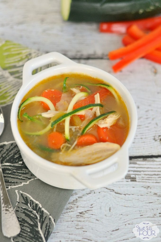 """This Southwestern Chicken Zoodle Soup is perfect for people watching their carbs! I call this my """"kitchen sink"""" soup because it can really be customized to have whatever you want in it and it will still taste great."""