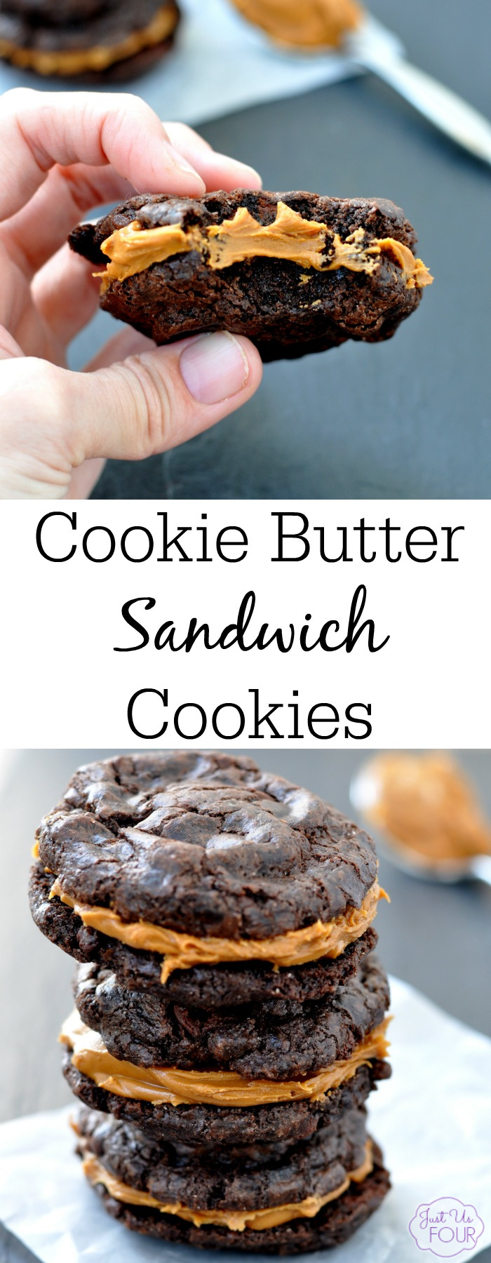 Two amazing fudge cookies with cookie butter sandwiched in between. This cookie recipe is to die for and makes the perfect decadent dessert.