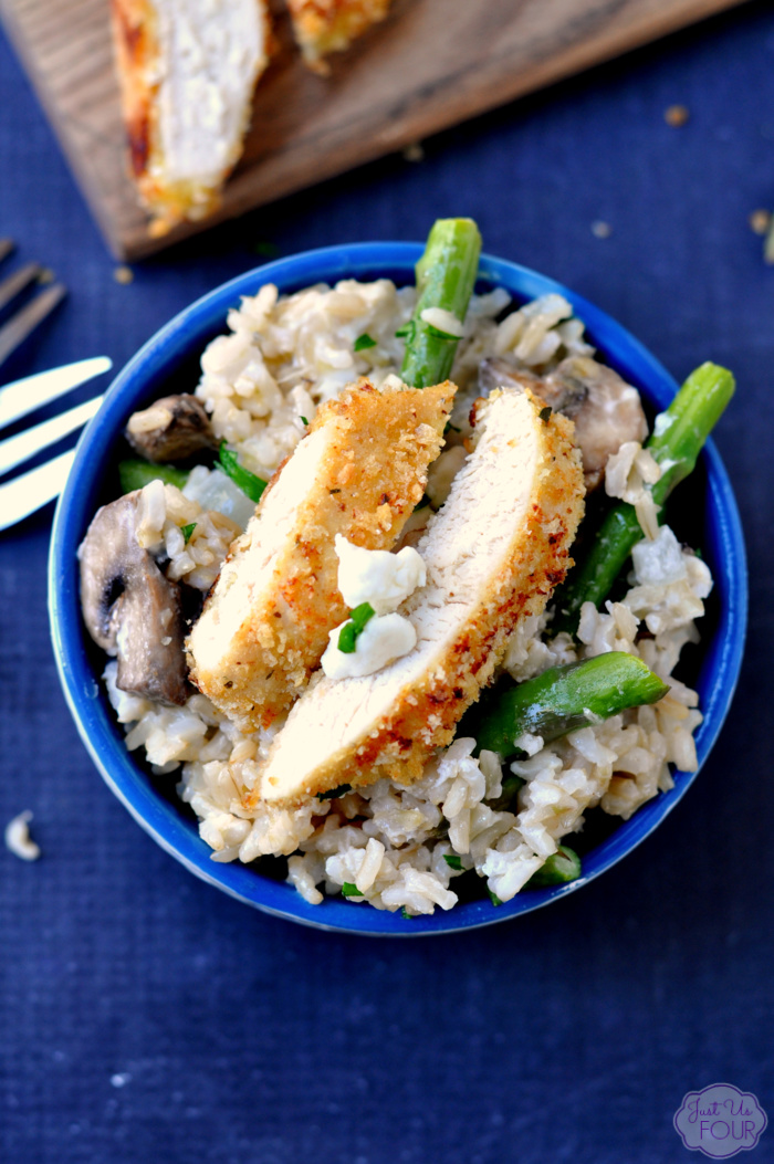 Crispy Chicken with Asparagus Goat Cheese Rice