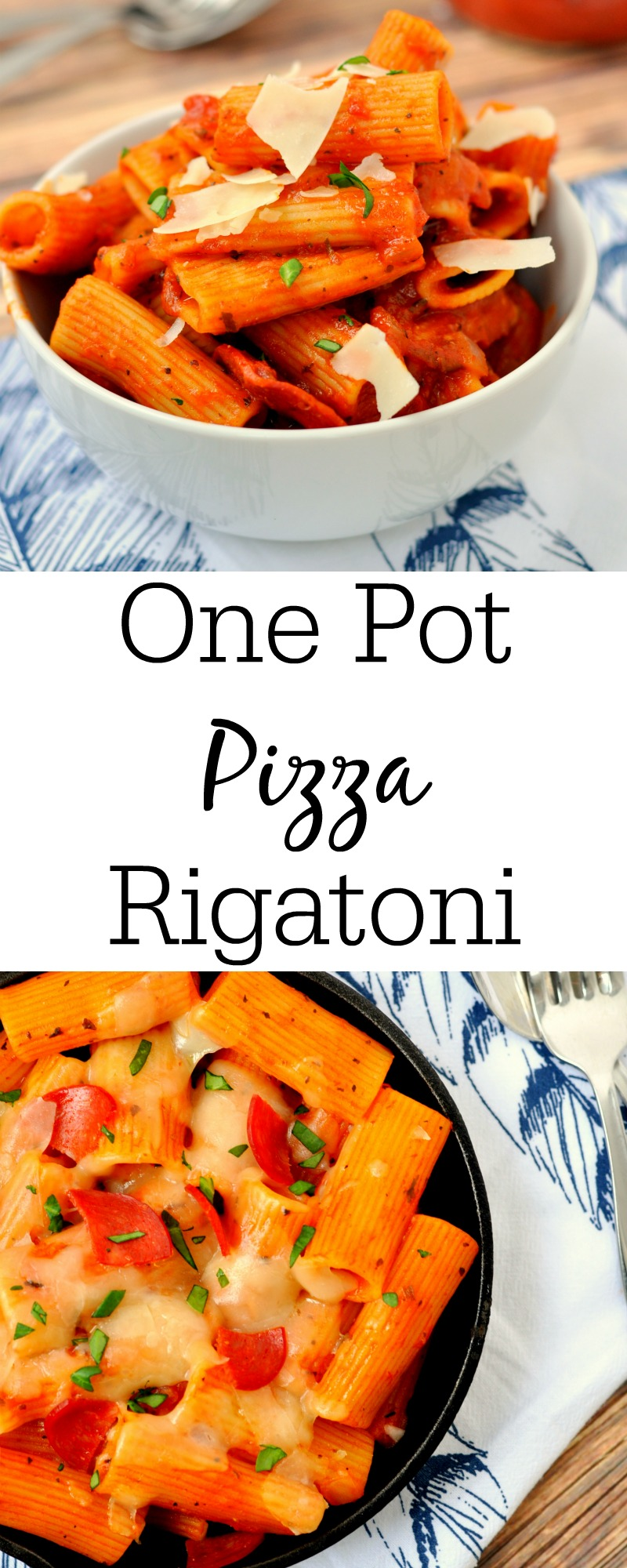 One pot pizza rigatoni is the perfect easy meal that cooks fast and tastes amazing. It will solve your dinner problem any night.