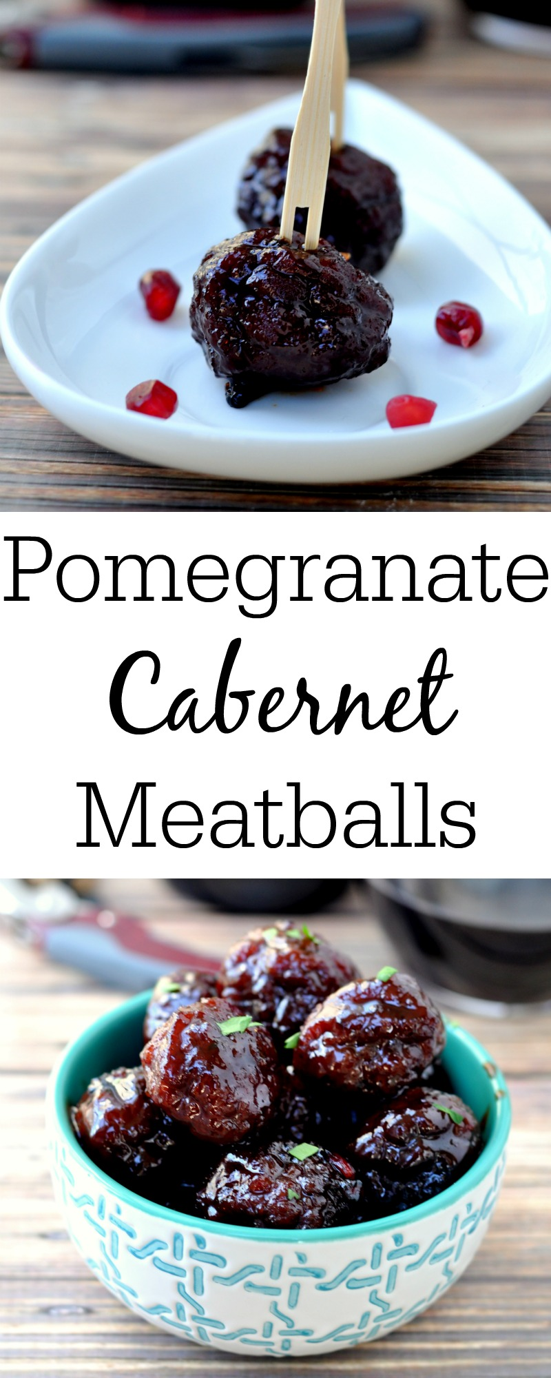 Pomegranate Cabernet Meatballs are the perfect bite sized appertizer for your next party...big or small...low key or fancy.