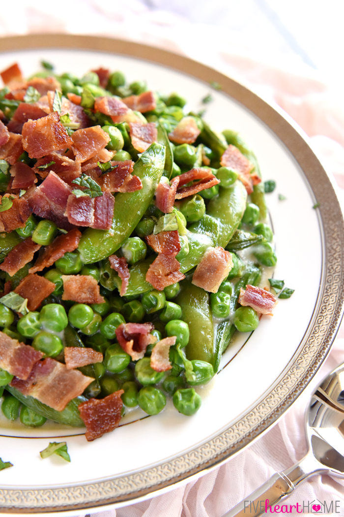 13 - Five Heart Home - Creamy Spring Peas with Bacon Mint