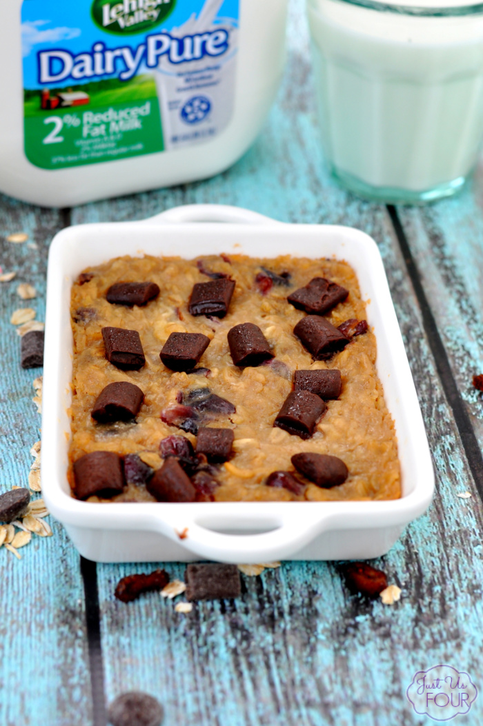 Dark chocolate cranberry baked oatmeal