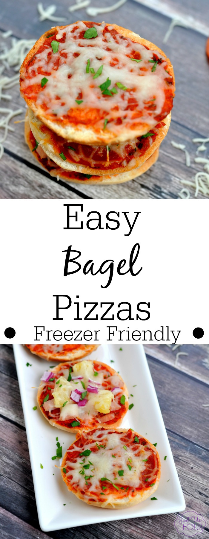 You have to try this recipe for freezer friendly bagel pizzas. They are so easy!