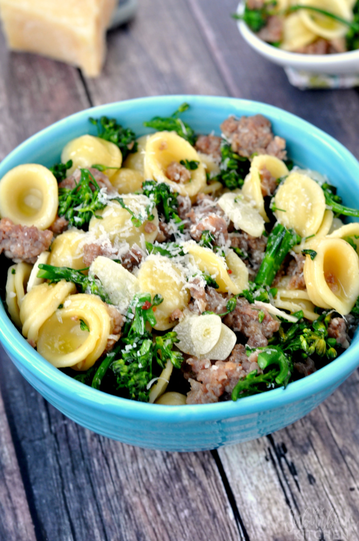 Sausage Parmesan Pasta with Brocolini, shared by My Suburban Kitchen at The Chicken Chick's Clever Chicks Blog Hop