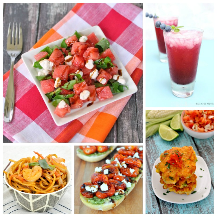 Watermelon Goat Cheese Salad // Blueberry Mojito // Grilled Corn Cakes ...