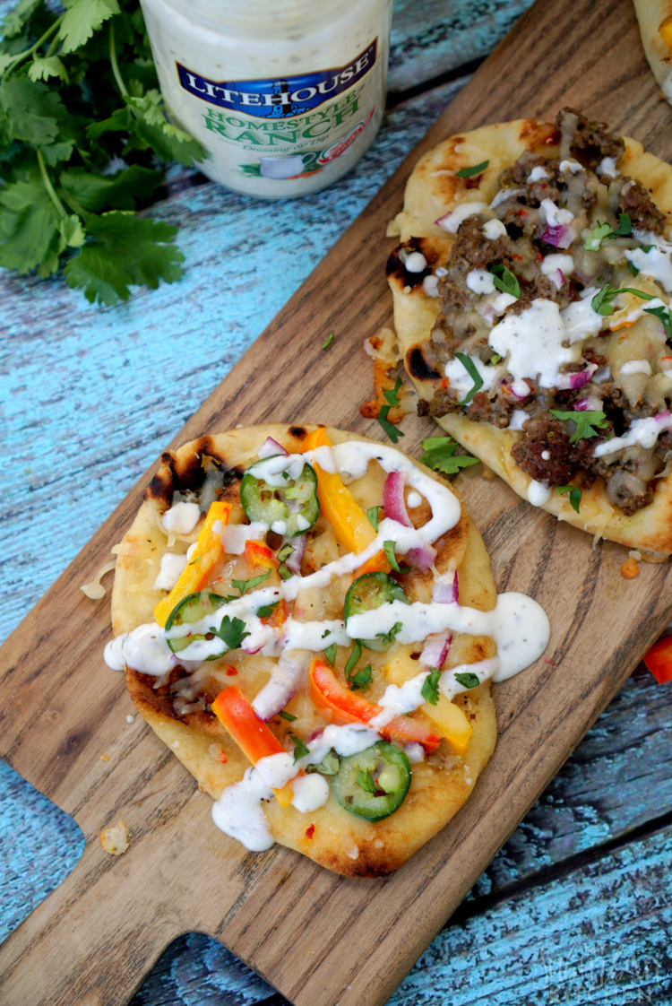 Chicken Fajita Ranch Flatbread Pizzas
