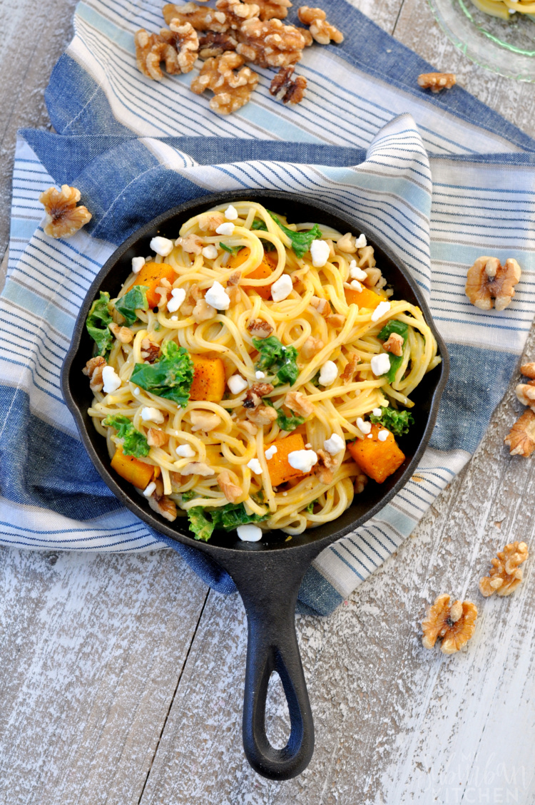 Butternut Squash, Kale and Walnut Spaghetti