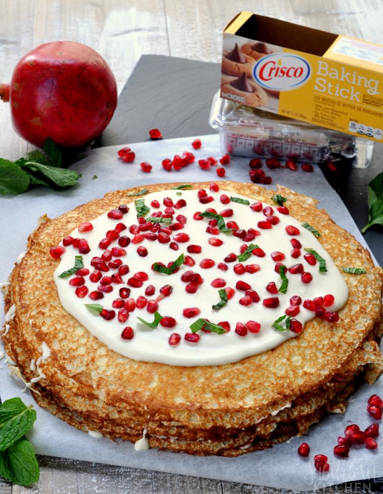 Pomegranate Vanilla Crepe Cake
