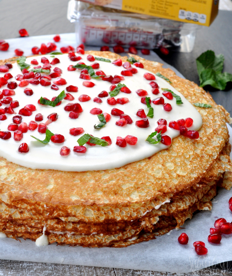 Pomegranate Vanilla Crepe Cake Recipe