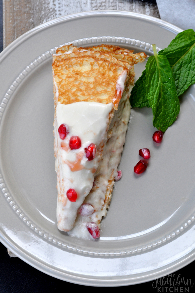 Easy Pomegranate Vanilla Crepe Cake