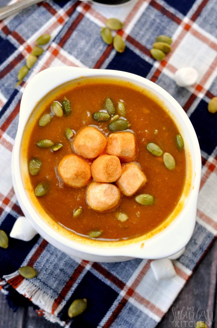 Pumpkin Soup with Cinnamon Marshmallows