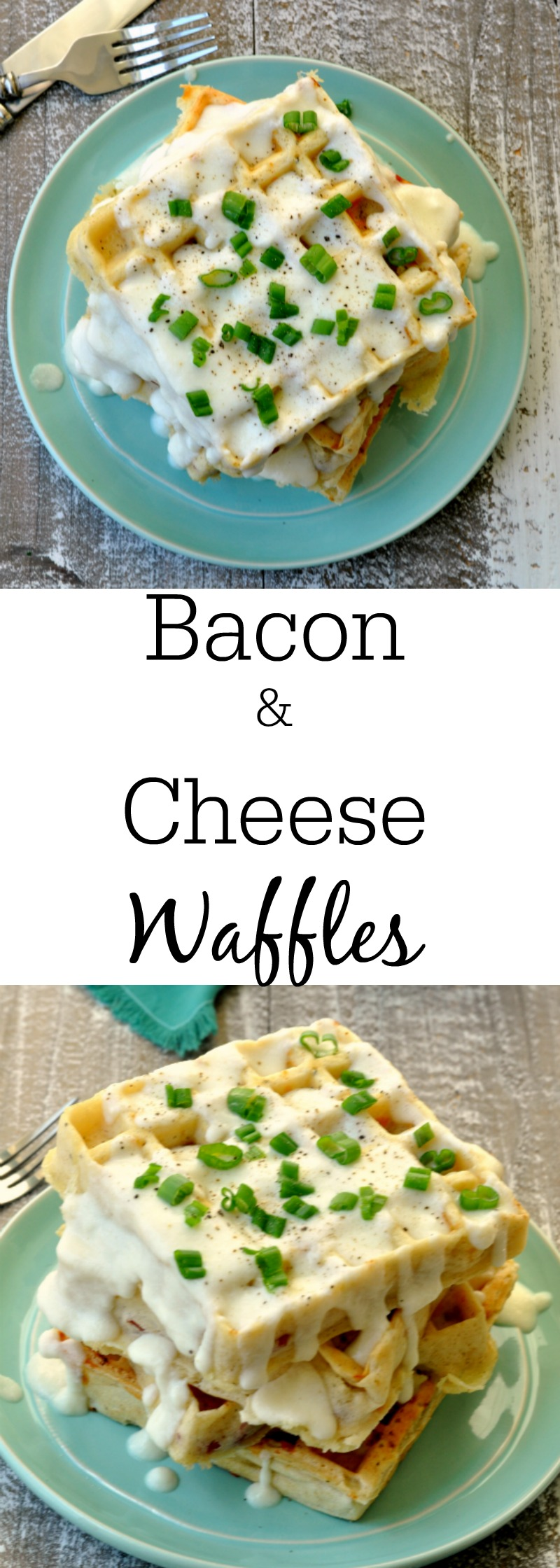 Bacon and Cheese Waffles with Swiss Cheese Sauce