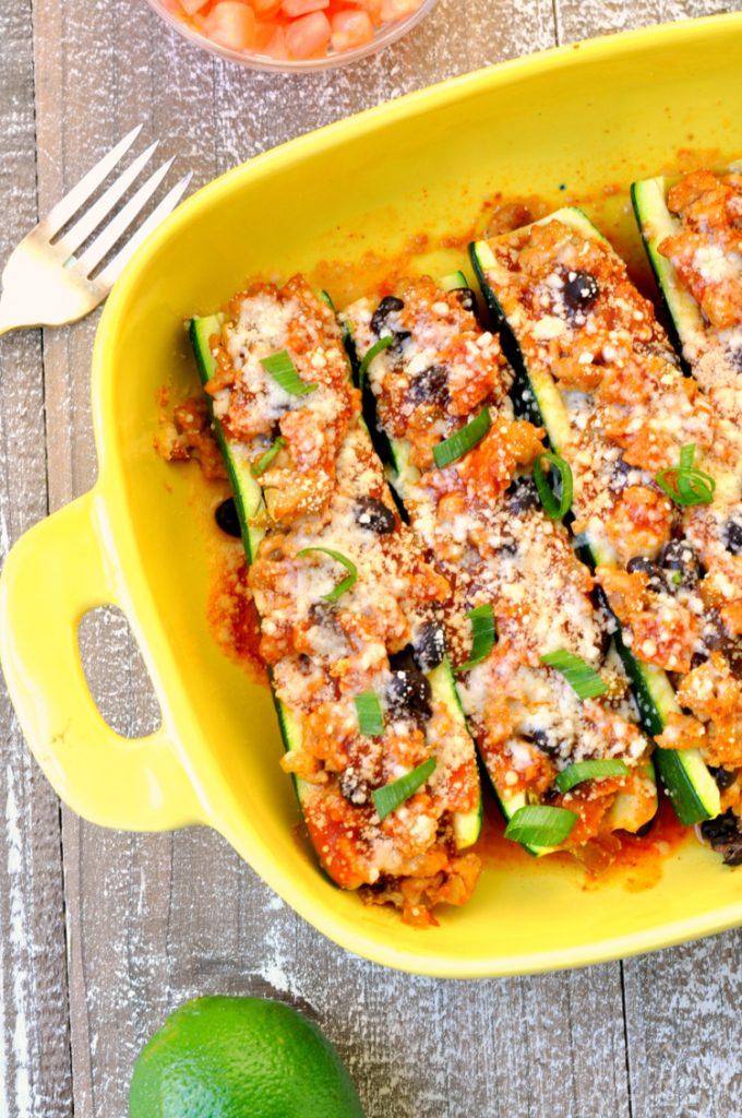 Chicken Enchilada Stuffed Zucchini - My Suburban Kitchen