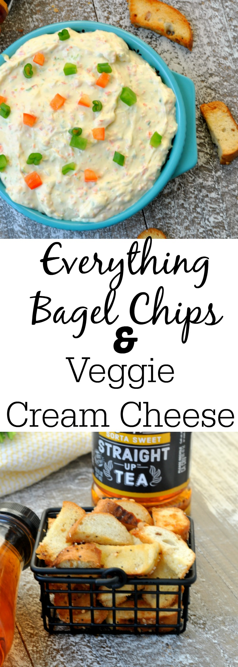 Everything Bagel Chips and Veggie Cream Cheese Dip