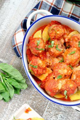 Meatball Parmesan Polenta Bake