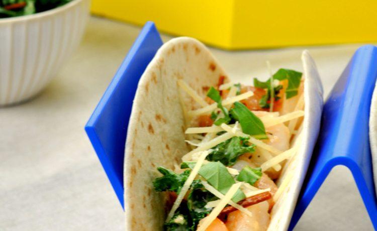 Shrimp Scampi Tacos with Kale Slaw