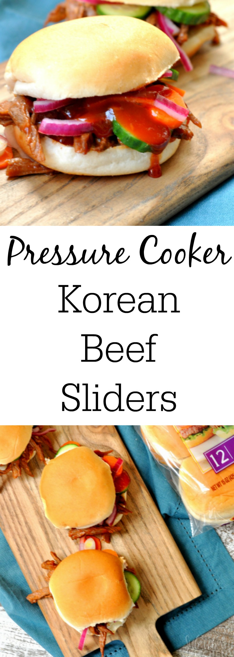 pressure cooker Korean beef sliders photo collage