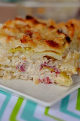Horizontal photo of finished corned beef and cabbage casserole
