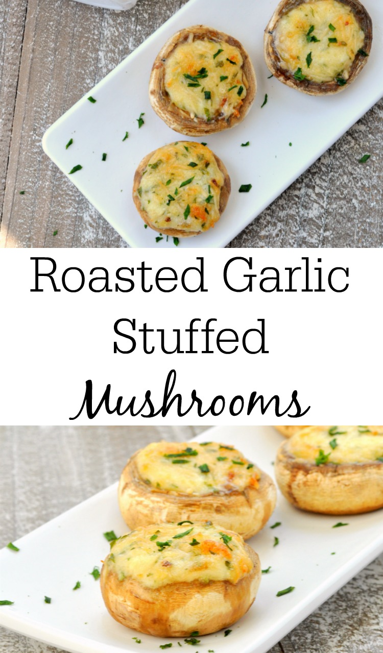 Roasted Garlic Stuffed Mushrooms
