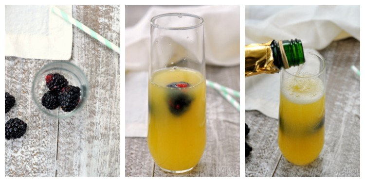 Collage of steps to make pineapple blackberry mimosas