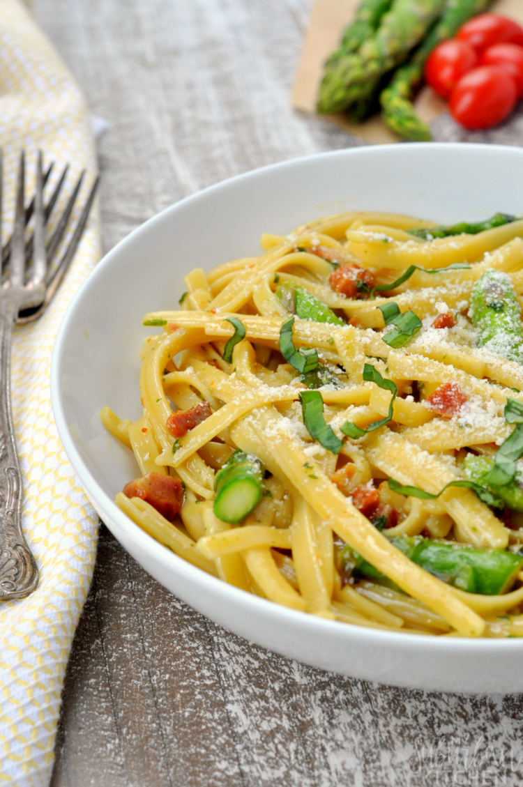 Roasted Asparagus Carbonara