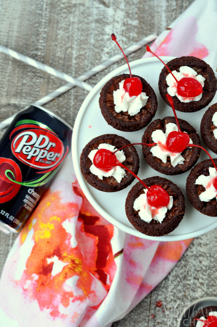 brownie bites on cupcake stand with dr pepper can
