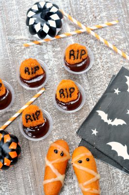 Halloween Party Treats - Mummy Corn Dogs and Nugget Graveyards