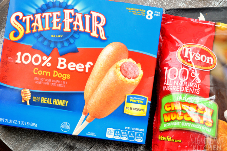 Photo of State Fair Corn Dogs and Tyson Chicken Nugget packaging