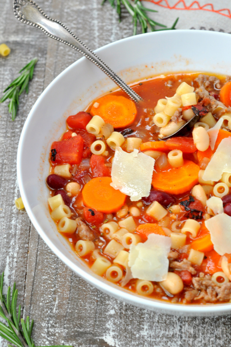 White bowl of minestrone soup