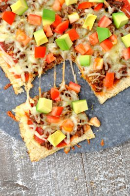 Overhead photo of mexican pizza on cauliflower pizza crust