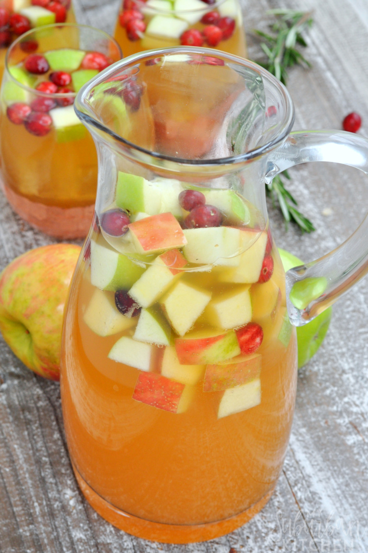 Glass Pitcher of holiday sangria
