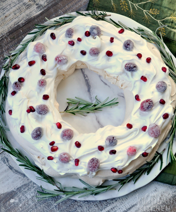 Overhead photo of Holiday Pavlova Dessert