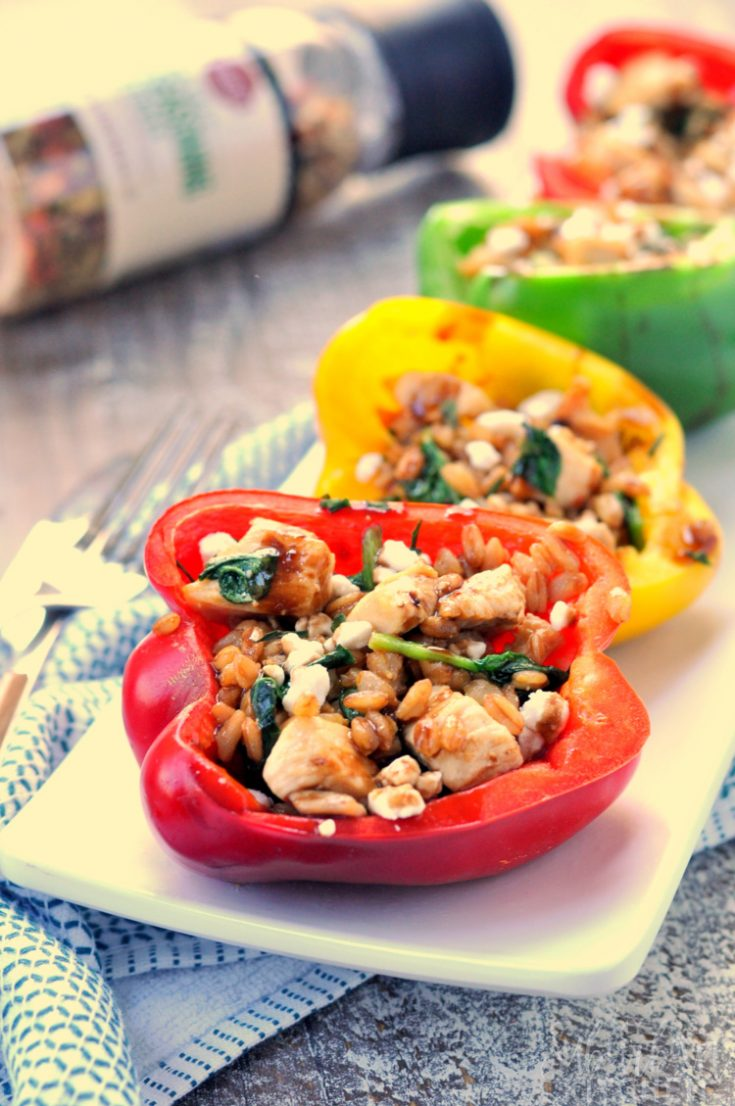 Photo of multiple balsamic chicken stuffed peppers