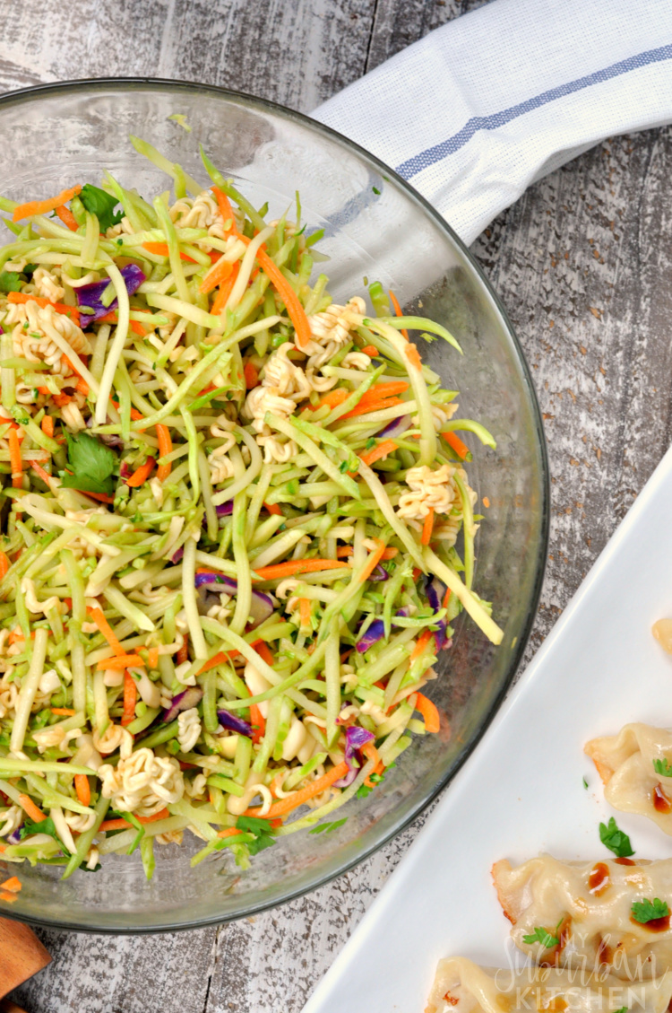 Overhead photo of Asian Broccoli Slaw Recipe