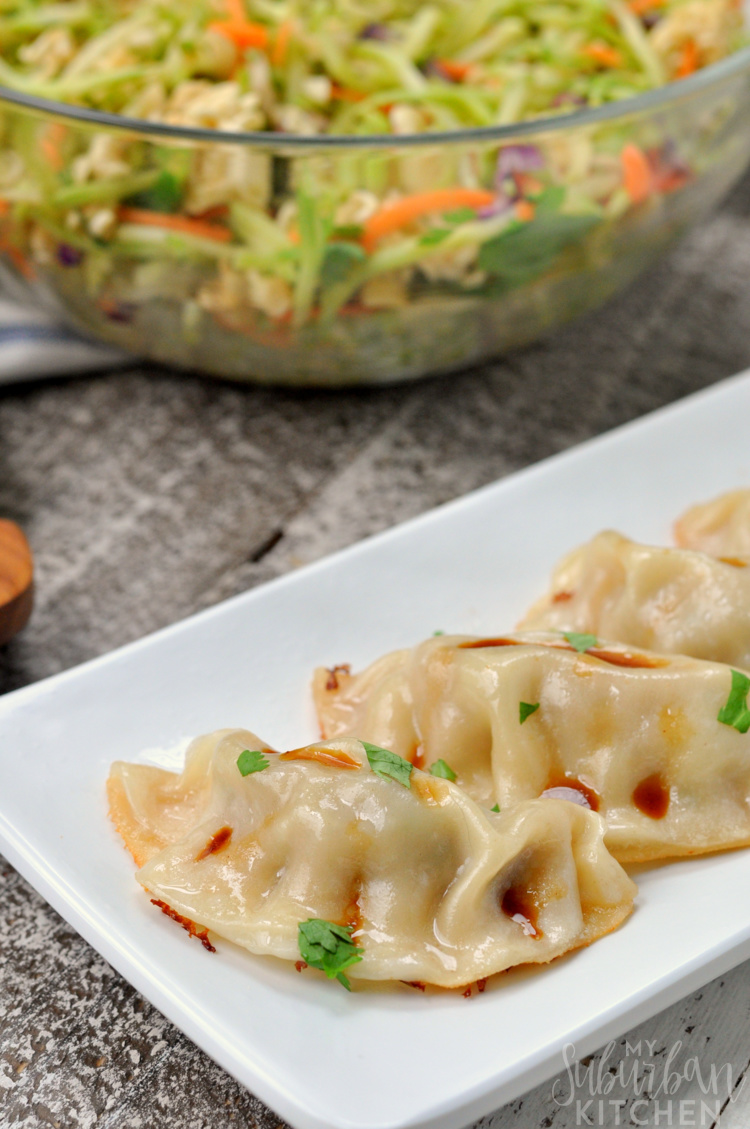 Broccoli Slaw Salad with Potstickers