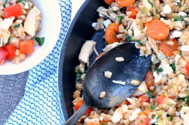 Overhead photo of Balsamic Chicken Veggie Skillet with bowl
