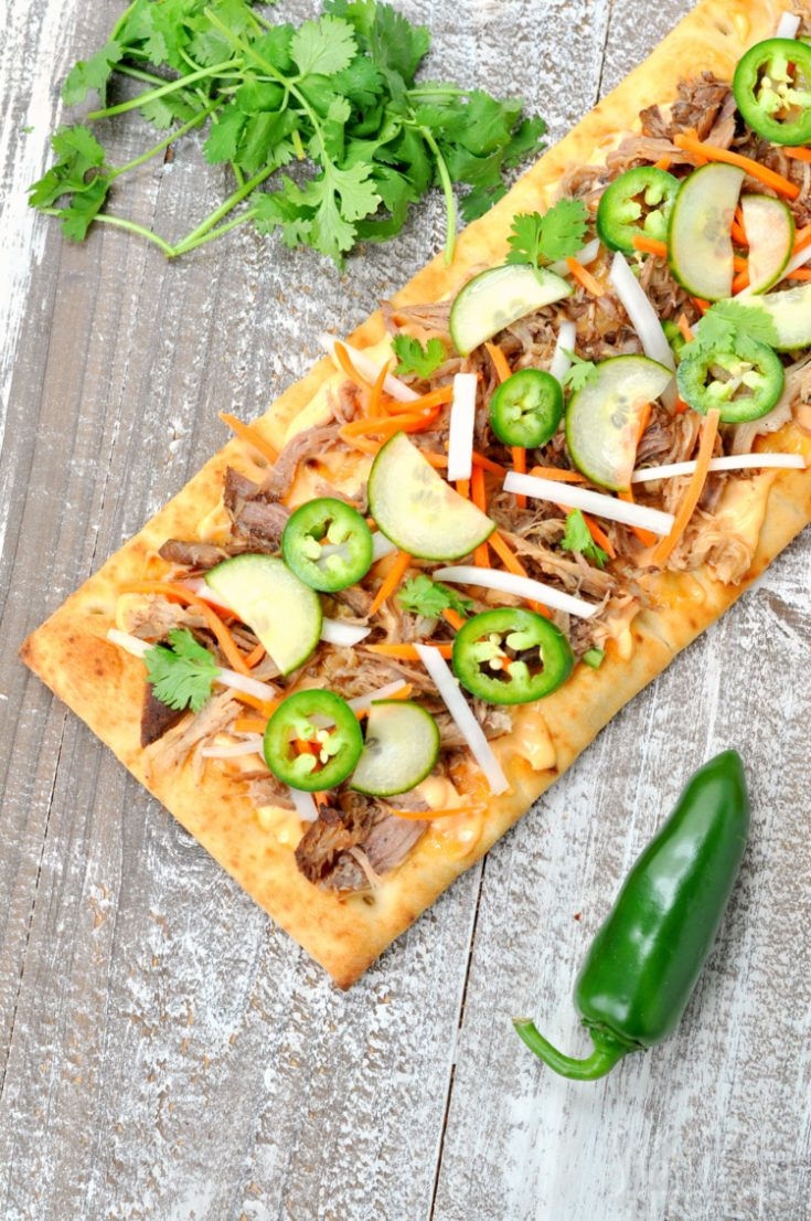 Overhead photo of Banh Mi Flatbread PIzza